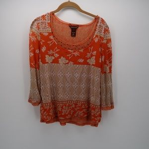 Multiples Orange Floral 3/4 Sleeve Beaded Top